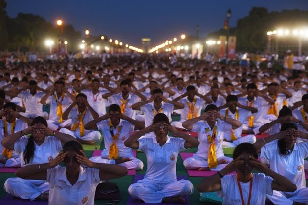 Participants perform yoga in New Delhi, India. World Yoga Day is celebrated annually on June 21 and was declared to be i