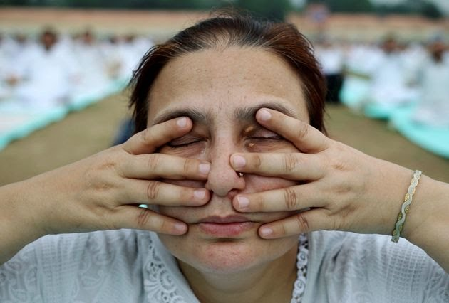 A participant performs yoga during World Yoga Day in Jammu, India.