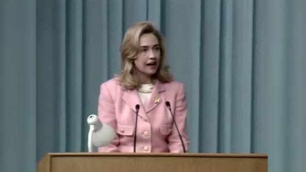 """September 5, 1995 — A defiant Hillary Clinton, then the First Lady of the United States, declaring that """"human rights are wom"""