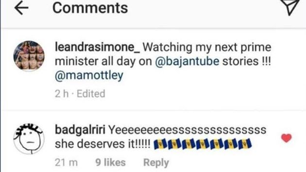 Singer Rihanna appears to endorse Mottley's candidacy on Instagram.